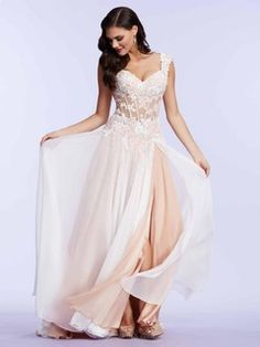 A-line Chiffon Tulle with Appliques Lace Inexpensive V-neck Pink Prom Dresses -$212.19