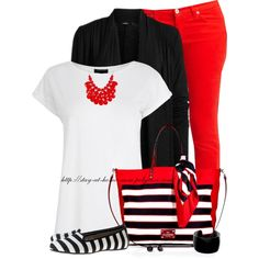 """""""Striped Bag & Shoes"""" by stay-at-home-mom on Polyvore"""