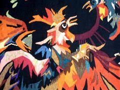Antiquité Tapisserie d'Aubusson Art Moderne par Jean Lurçat combat de coqs (détail)
