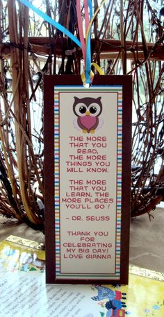 Owl Bookmark Owl Party Favor Bookmark Favor by TooCuteInvites, $10.00
