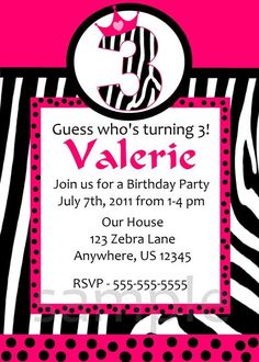 free printable hot pink zebra invitations Free Printable Zebra