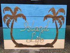 Handmade Island Life with Rope Beach Pallet Art Coastal Decor