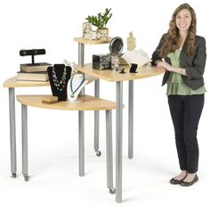 This maple rotating retail display table features 4 nesting layers. carries a wide selection of store fixtures, available today! Jewelry Table Display, Retail Jewelry Display, Accessories Display, Portable Gazebo, Merchandising Displays, Shop Displays, Blue And Purple Flowers, Fabric Display, Laminated Mdf