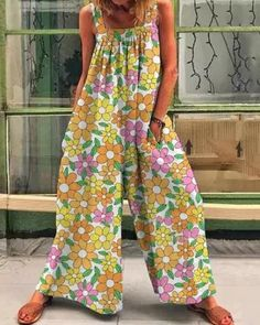 Women Colorful Multiflora Print Casual Loose Jumpsuit Types Of Sleeves, Dresses With Sleeves, New Arrival Dress, Casual Jumpsuit, Outerwear Women, Jumpsuits For Women, Hippy, Lounge Wear, Sweaters For Women