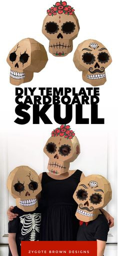 DIY cardboard skull costume by Zygote Brown Designs. Great for Halloween or Day of the dead celebrat Mascaras Halloween, Halloween Masks, Holidays Halloween, Halloween Crafts, Happy Halloween, Halloween Party, Christmas Costumes, Halloween Stuff, Vintage Halloween