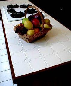 tiled kitchen countertops - Wood Tile Kitchen, Diy Kitchen Shelves, Kitchen Countertop Materials, Kitchen And Bath Design, Bathroom Cupboards, Tile Wood, Cabinets, Tile Countertops, Decoration