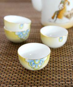 yellow Japanese tea set #tea