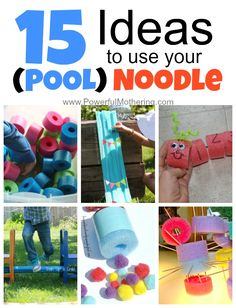 15 pool noodle activities for kids. Fun ways to use pool noodles. Summer Activities For Kids, Toddler Activities, Learning Activities, Kids Fun, Therapy Activities, Therapy Ideas, Preschool Ideas, Kids Learning, Teaching Ideas