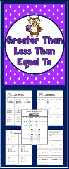 Comparing with greater than, less than and equal to....No Prep Printables (grades 2-3-4)