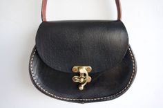 Leather small oval messenger bag black with by GalenUnique on Etsy, $39.00