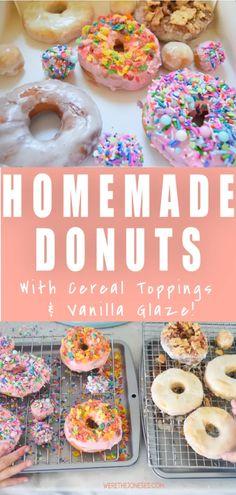 Donut Recipes, Cake Recipes, Party Recipes, Sweets Recipes, Delicious Donuts, Yummy Food, Delicious Recipes, Donut Store, Fruity Pebbles Cereal