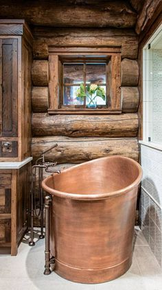 In Vail, Colorado, log structures are quite common. But this completely customized dream log home stands apart from the crowd. Log Homes Exterior, Exterior House Colors, Exterior Doors, Log Home Bathrooms, Rustic Bathrooms, Metal Countertops, Log Cabin Homes, Stone Veneer, French Oak