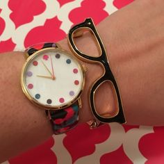 "NWT kate spade Multicolor Dot Watch! NWT Kate spade Women's Metro Dancing Floral Strap Watch! Case: Round, shiny gold tone metal Dial: Mother-of-pearl Band: Multicolor dots, genuine patent leather Tang buckle clasp Japanese quartz mvmt, mineral: crystal. Case diameter: 33mm, case thickness: 7mm Band size: length, 8.5"" width 15mm Water resistance 3ATM kate spade Accessories Watches"