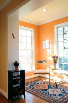 Mango:  Not as vibrant as a typical orange, mango walls will be a cheerful surprise to any patio, kitchen or bathroom. It's rejuvenating and looks great with other bright colors. But my favorite pairing for a mango wall? Navy blue furniture. It matures the mango and looks a lot more fashion-forward.