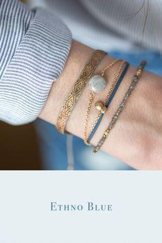 combination blue ethno armband grau blau ananas by johanne designer