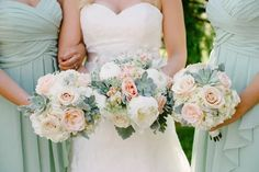 Elegant Peach, Blush and Pale Sage Wedding   Kristen Honeycutt Photography http://www.kristenhoneycutt.com/