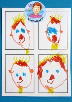 Kleuters tekenen pasfoto's 2, kleuteridee.nl, thema 'de fotograaf' Multimedia, Hollywood, Teacher, School, Cards, Pictures, Seeds, Map