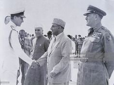March, 1947. Lord Mountbatten, Viceroy of India, on arrival at Palam airfield; introduced by ;George Abell to Pandit Jawaharlal Nehru, ;Liaquat Ali Khan and Field-Marshal Sir Claude Auchinleck