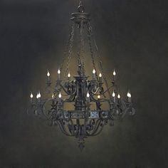 John Richard Satin Black Chandelier