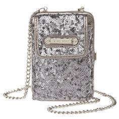 """Sequin phone case with metal chain strap and back compartment for id and credit cards.  Strap can easily be tucked inside the id compartment, measures 24"""" drop.  Phone compartment measures 4 3/4"""" L x 3 1/4 """" W x 1/2"""" D."""