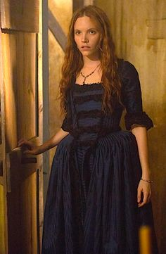 Anne Hale blue silk dress with black gathered silk trim Season 2.