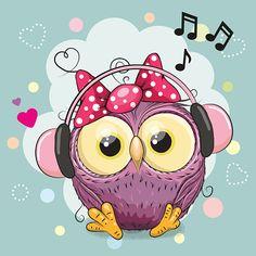 Owl Girl with headphones and hearts - ilustração de arte em vetor