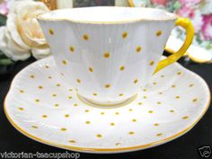 SHELLEY DAINTY YELLOW TEA CUP AND SAUCER POLKA DOTS TEACUP