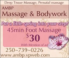 Prenatal Massage, Foot Massage, Deep Tissue, Vancouver Island, Coupons, Canada, Ads, Coupon