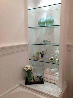 estantes integrados de vidrio