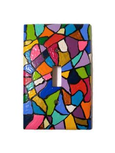 Multi Colored hand painted single light switch plate - Stained Glass-like design - artsy and colorful rainbow - pinned by pin4etsy.com