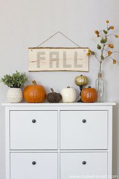 "Wood Plank Cross-Stitch ""FALL"" Decor --- Make It and Love It"
