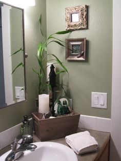 Spa-like feel in the guest bathroom. The fresh green color makes the narrow dark room feel larger.