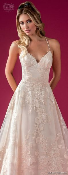 modern trousseau fall 2018 bridal spaghetti strap sweetheart neckline full embellishment romantic romantic elegant a  line wedding dress chapel train (wynn) lv -- Modern Trousseau Fall 2018 Wedding Dresses #weddingdress #wedding #bridal