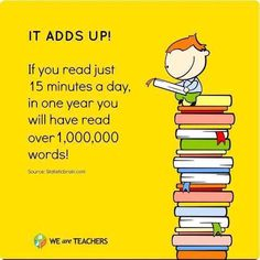 The more words kids read, the better they score on reading proficiency tests! Thanks Statistic Brain for the image. Library Quotes, Library Posters, Library Books, Book Quotes, Library Ideas, Library Memes, Class Library, Read Books, Library Signs