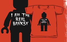 """Black Minifig with ""I am the Real Banksy"" slogan by Customize My Minifig"" Kids Clothes by ChilleeW 