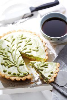 Light and luscious green tea cheesecake tart