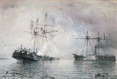 """'Second battle of Iquique' by Hull born artist Thomas Somerscales, a fine painter of sea, ships and Countryside. War Of The Pacific, Naval History, Ship Art, Model Ships, World History, Sailing Ships, Chile, Sailboats, Countryside"