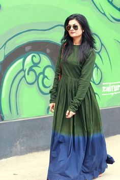karishma shahni dress green maxi blue indian street style fashion blogger