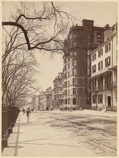 Boston,Beacon Street 1890. Still has the same old world feel as it did back then.