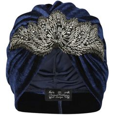 The Future Heirlooms Boutique Rosalind Turban in Navy ($46) ❤ liked on Polyvore featuring accessories, hats, blue, turban hat, navy hat, velvet turban, blue turban and navy blue hat