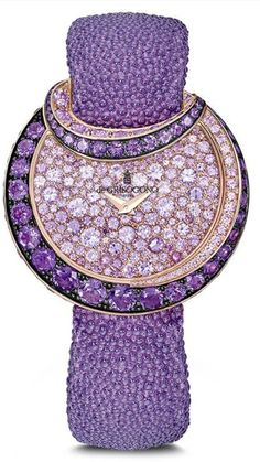Most beautiful women's watches at Baselworld de GRISOGONO Luna watch with amethysts and pink sapphires set in rose gold in a fully high jewellery watch for the girliest girl. The most beautiful women Purple Love, All Things Purple, Shades Of Purple, Deep Purple, Purple Stuff, Purple Hues, Latest Women Watches, Ladies Watches, Men's Watches