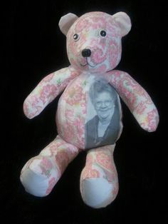 Photo Memory Bear made from loved ones clothing. Come see my bears on Facebook. Creative Crafts by Dawn