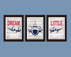 Dream Big Little Man, Airplane Decor, Aviation Decor, Airplane Nursery Art,  Nursery Decor, Boys Bedroom Decor, Boys Bedroom Wall Art by FKArtDesign on Etsy https://www.etsy.com/listing/235965401/dream-big-little-man-airplane-decor