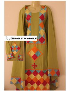 Mingle mangle Pakistani Dress Design, Pakistani Dresses, Indian Dresses, Indian Suits, Indian Wear, Ethnic Gown, Applique Dress, Kurta Designs, Traditional Dresses