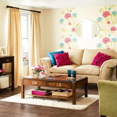 Neutral base living room. Just add colored pillows & wall accents. Via digsdigs.com
