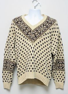 Tommy Hilfiger Beige Fair Isle 100% Cotton Cable Knit V-Neck Sweater Size M #TommyHilfiger #VNeck