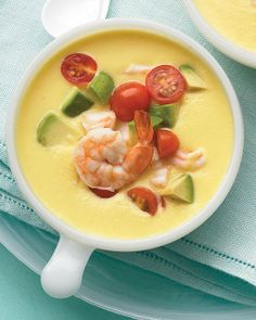 Cold Southwestern Corn and Shrimp Soup - I don't usually like cold soups but this one from Martha Stewart just looks and sounds so awesome...! Heat it up? <snort!>
