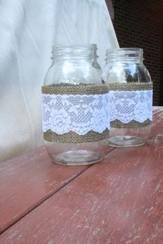 4 Burlap and Lace Quart Mason Jars by NRZimmerLong on Etsy We could do this ourselves though :)