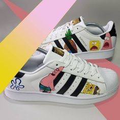 Nike Air Shoes, Adidas Shoes, On Shoes, Shoe Boots, Painted Sneakers, Painted Shoes, Custom Sneakers, Custom Shoes, Zapatillas Adidas Superstar