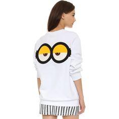 SJYP Le Buddies Minions Sweatshirt ($200) ❤ liked on Polyvore featuring tops, hoodies, sweatshirts, white, oversized sweat shirts, long sleeve tops, white crew neck sweatshirt, sweat tops y white crewneck sweatshirt